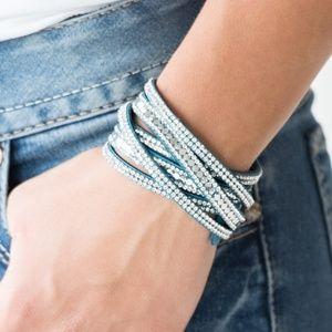 Rock Star Attitude - Blue Double Wrap Bracelet